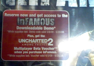 Uncharted 2 Multiplayer beta with inFamous purchase