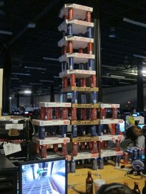 A giant pizza box/Bawls tower